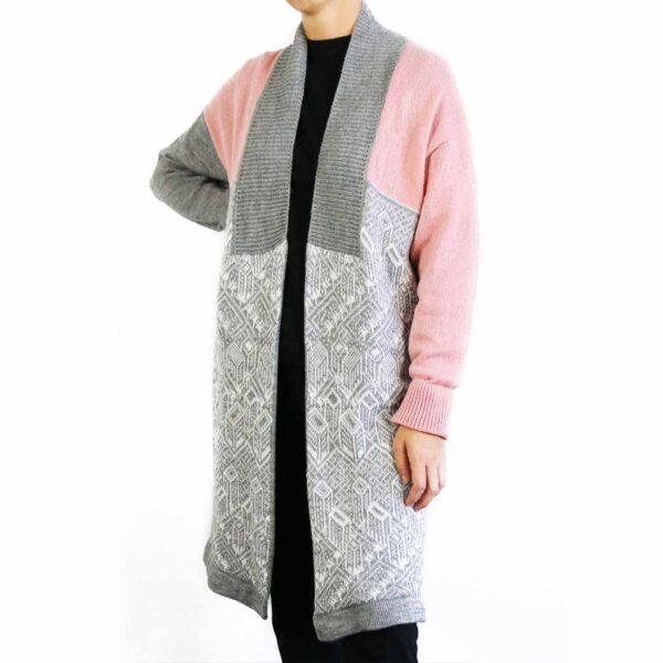 Cardigan urban pink top gray bottom
