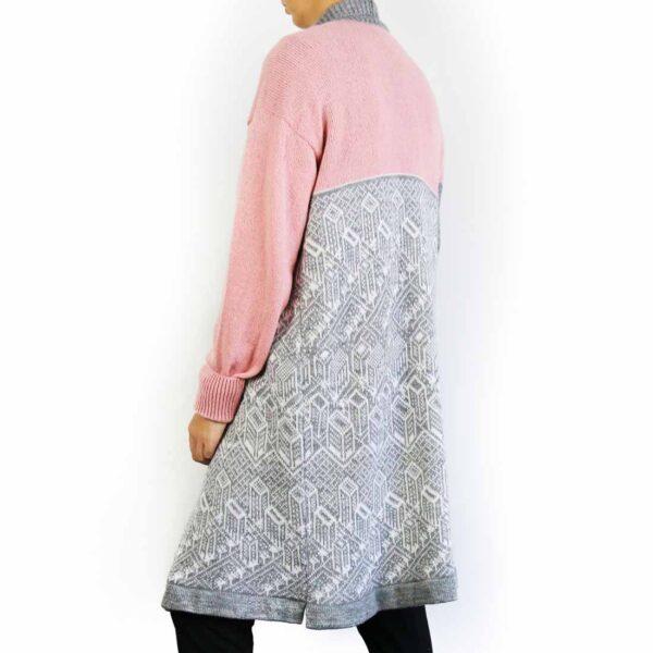 Cardigan urban pink top gray bottom2