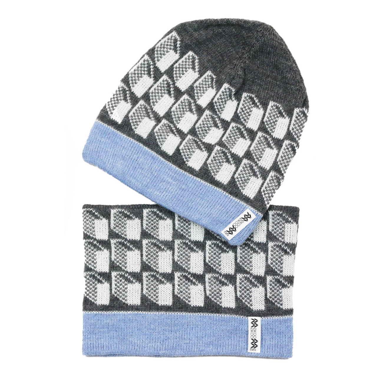 hatsnood Lasna gray top pale blue inside