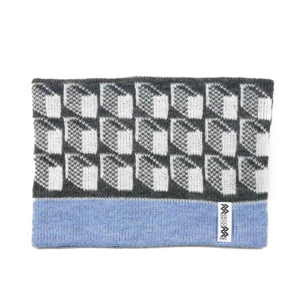 snood gray top pale blue inside