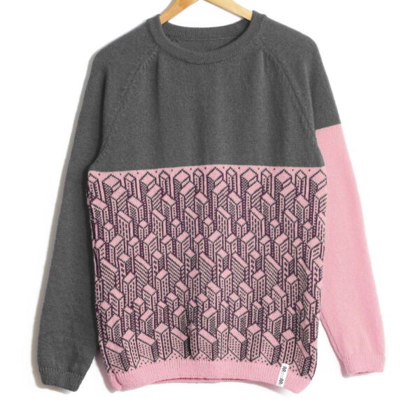 sweater City Gray top pink bottom