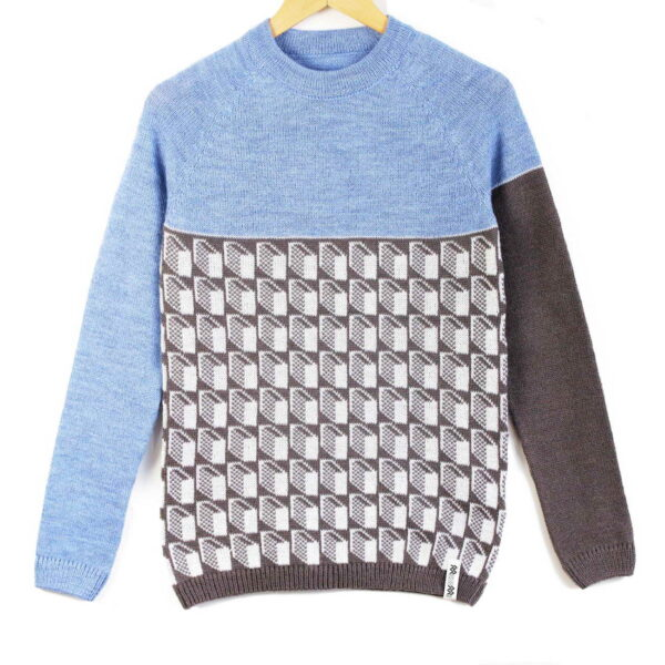 sweater Lasna blue top gray bottom