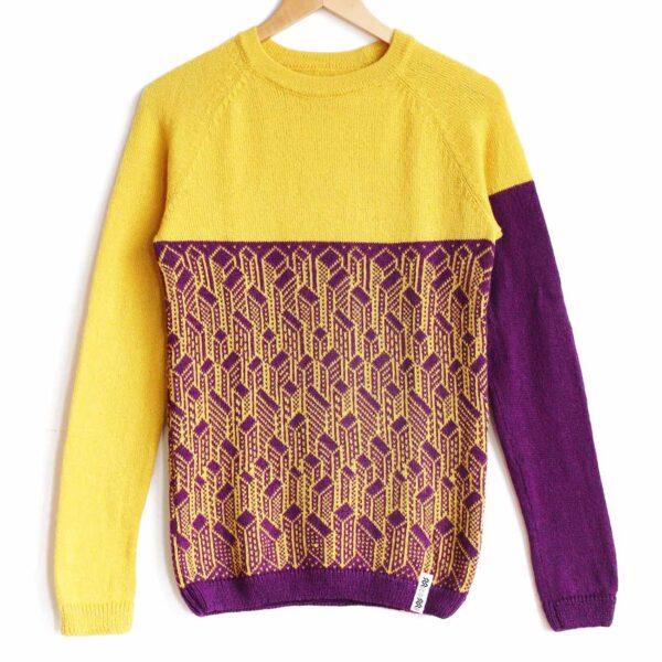 sweater City yellow top purple bottom